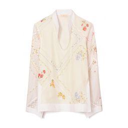 Embroidered Handkerchief Cotton & Silk Tunic Top