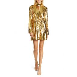 Avril Contrast Back Sequin Long Sleeve Minidress