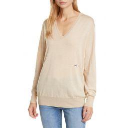 V-Neck Wool, Silk & Cashmere Sweater