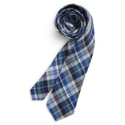 White Warp Plaid Silk Tie