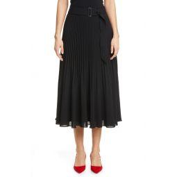 Split Pleat Belted Skirt