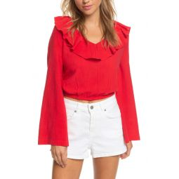 Paradise Is You Ruffle Trim Bell Sleeve Crop Top