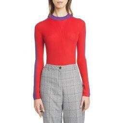 Mock Neck Rib Wool Sweater