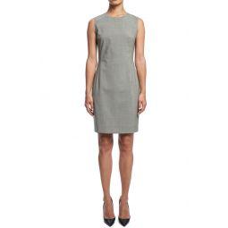 Sleeveless Seam Fitted Stretch Wool Dress