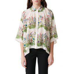 Floral Print Silk Button-Up Shirt