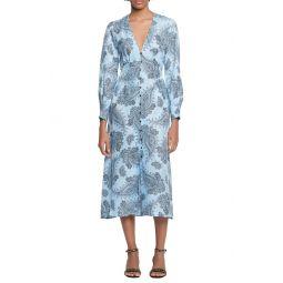 Paisley Long Sleeve Midi Dress