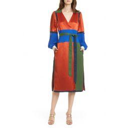 Colorblock Long Sleeve Wrap Dress