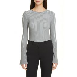 Bicolor Ribbed Flare Sleeve Sweater