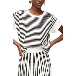 Stripe Boxy Short Sleeve Sweater