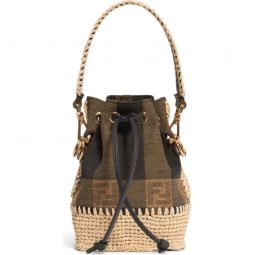 Mini Mon Tresor Jacquard Raffia Bucket Bag