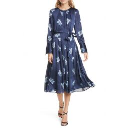 Floral Belted Long Sleeve Midi Dress