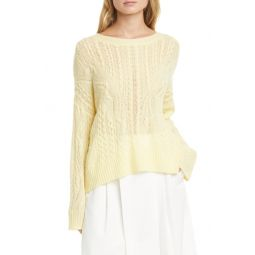 Open Cable Knit Wool & Cashmere Blend Sweater