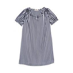 Shine Stripe Puff Sleeve Dress