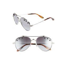 Star Detail 58mm Mirrored Aviator Sunglasses