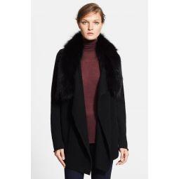 Drape Collar Cardigan with Removable Genuine Fox Fur Collar