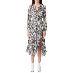 Ribou Zebra Print Long Sleeve Dress