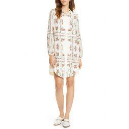 Cora Floral Tile Long Sleeve Silk Shirtdress