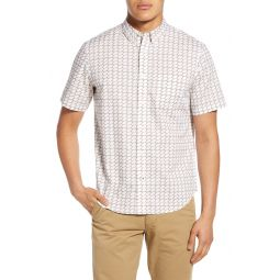 Slim Fit Lemon Geo Short Sleeve Button-Down Shirt