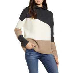 Patchwork Funnel Neck Sweater