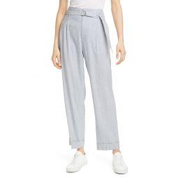 Belted Stripe Linen Blend Trousers