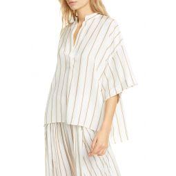 Stripe Silk Popover Top