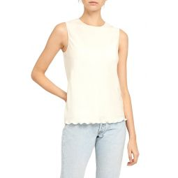 Ruffle Edge Stretch Silk Tank