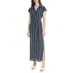 Danielle Stripe Silk Maxi Shirtdress