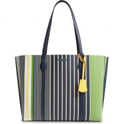 Perry Stripe Leather Tote