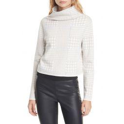 Malika Houndstooth Funnel Neck Sweater