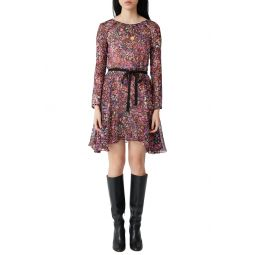 Long Sleeve Belted Floral Silk Dress