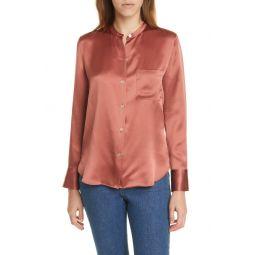 Slim Fit Band Collar Silk Blouse