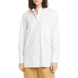 Classic Stripe Band Collar Cotton Blend Shirt