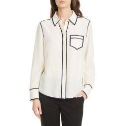 Contrast Binding Silk Shirt