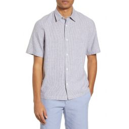 Stripe Short Sleeve Chambray Button-Up Shirt