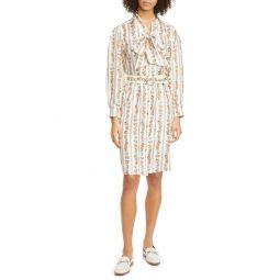 Bow Neck Long Sleeve Silk Shirtdress