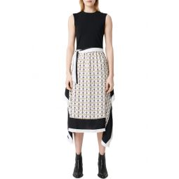 Rosy Scarf Print Midi Dress