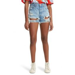 501 High Waist Ripped Cutoff Denim Shorts