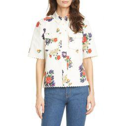 Floral Twill Safari Shirt
