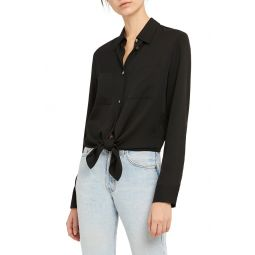 2 Core Tie Front Stretch Silk Shirt