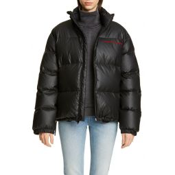 Chynatown Faux Leather Down Puffer Coat