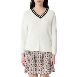 Metallic Detail V-Neck Cotton Sweater
