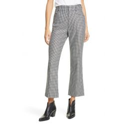 70s Plaid Wool Blend Crop Flare Trousers