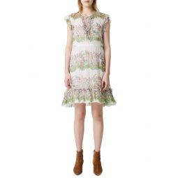 Ruffle Metallic Silk Dress