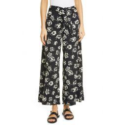 Floral Wide Leg Satin Pants