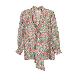 Floral Silk Bow Blouse