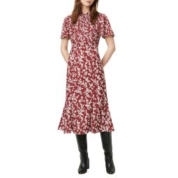 Bruna Floral Twist Neck Fit & Flare Dress