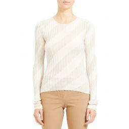 Diagonal Stripe Intarsia Silk Sweater