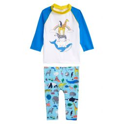 Animal Kingdom Two-Piece Long Sleeve Rashguard Swimsuit