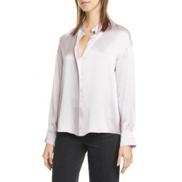 Wrap Front Long Sleeve Silk Blouse