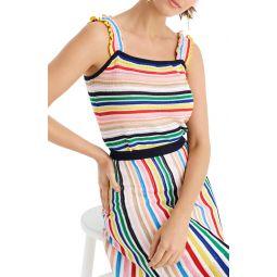 Rainbow Stripe Ruffle Strap Tank Sweater